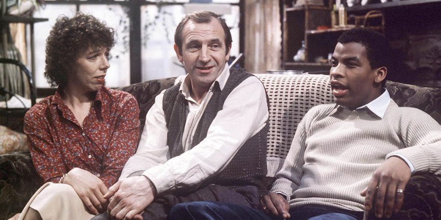 Rising Damp. Image shows from L to R: Ruth Jones (Frances de la Tour), Rupert Rigsby (Leonard Rossiter), Philip Smith (Don Warrington). Copyright: Yorkshire Television.