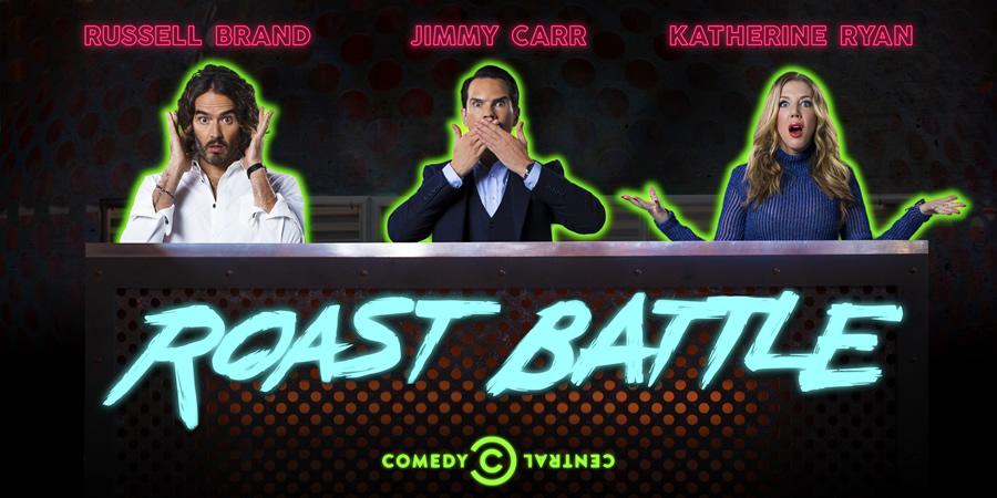 Roast Battle. Image shows from L to R: Russell Brand, Jimmy Carr, Katherine Ryan.