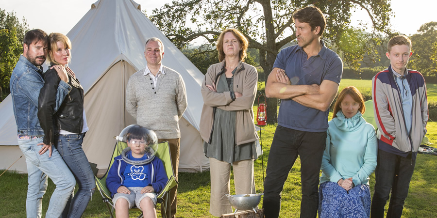 Camping. Image shows from L to R: Tom (Rufus Jones), Fay (Julia Davis), Archie (Oaklee Pendergast), Robin (Steve Pemberton), Fiona (Vicki Pepperdine), Adam (Jonathan Cake), Kerry (Elizabeth Berrington), Davey (Shaun Aylward). Copyright: Baby Cow Productions.