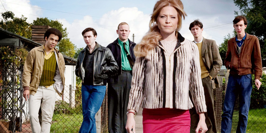 Rock & Chips. Image shows from L to R: Denzil (Ashley Gerlach), Del Boy (James Buckley), Jumbo Mills (Lee Long), Joan Trotter (Kellie Bright), Boycie (Stephen Lloyd), Trigger (Lewis Osborne).
