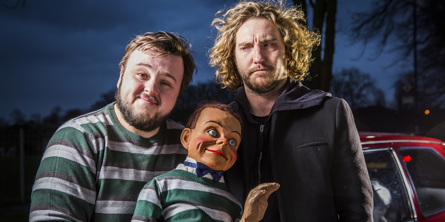 Roger. Image shows from L to R: Roy (John Bradley), Stephen (Seann Walsh).