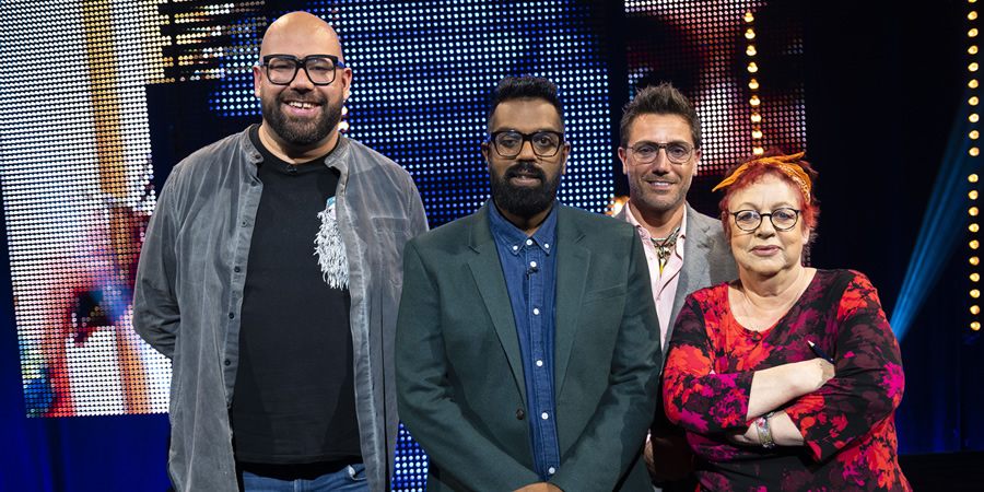 Romesh's Look Back To The Future. Image shows from L to R: Tom Davis, Romesh Ranganathan, Gino D'Acampo, Jo Brand. Copyright: Hungry Bear Media.