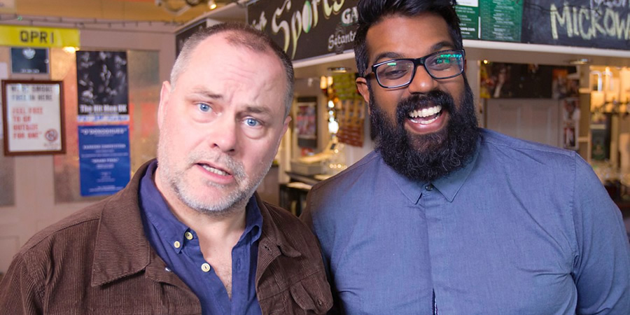Romesh: Talking To Comedians. Image shows from L to R: Jack Dee, Romesh Ranganathan.