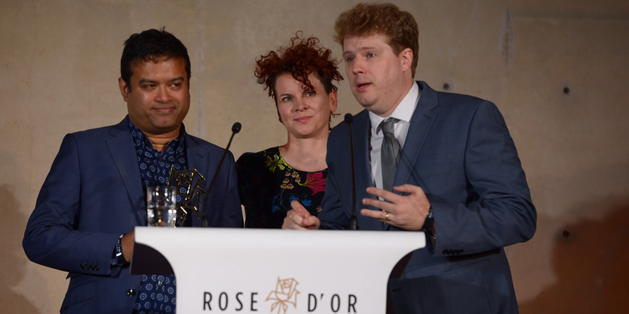 Image shows from L to R: Paul Sinha, Julia McKenzie, Ed Morrish. Copyright: Rose d'Or.