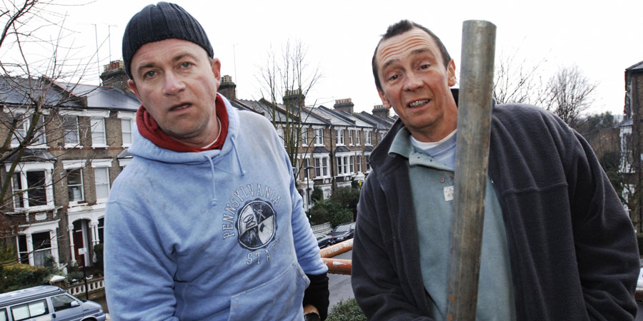 Harry & Paul. Image shows from L to R: Harry Enfield, Paul Whitehouse. Copyright: Tiger Aspect Productions.