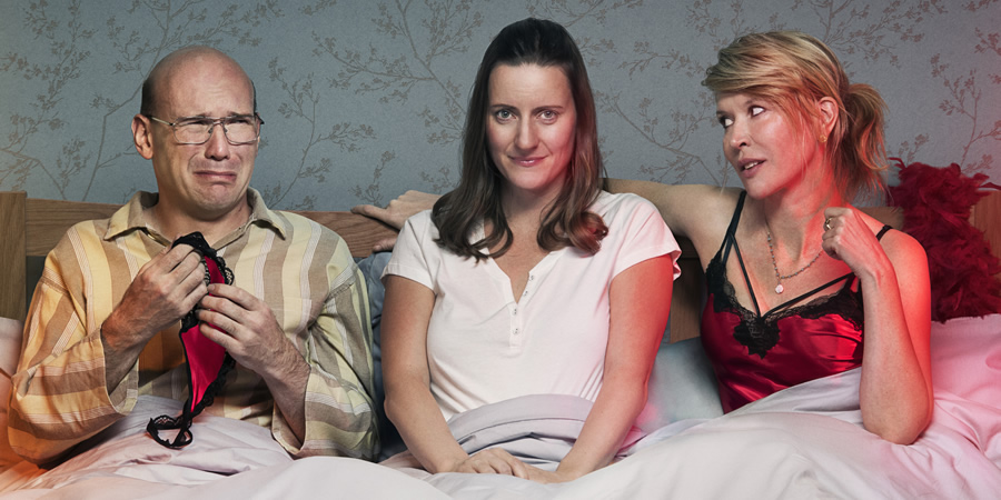 Sally4Ever. Image shows from L to R: David (Alex Macqueen), Sally (Catherine Shepherd), Emma (Julia Davis).