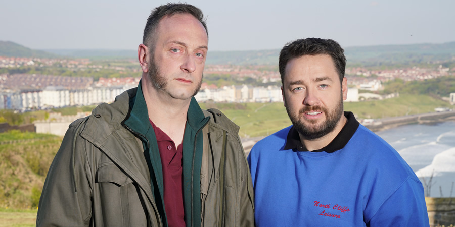 Scarborough. Image shows from L to R: Barry 'Bigsy' Dickson (Steve Edge), Mike (Jason Manford).