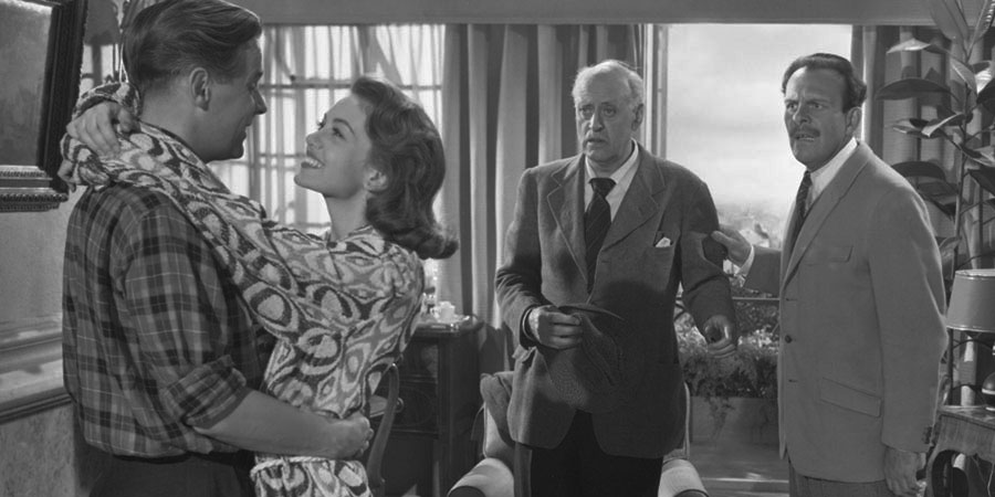 School For Scoundrels. Image shows from L to R: Henry R. Palfrey (Ian Carmichael), April Smith (Janette Scott), Mr. S. Potter (Alastair Sim), Raymond Delauney (Terry-Thomas). Copyright: Guardsman Films.
