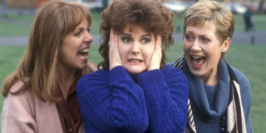 Screaming. Image shows from L to R: Penelope Wilton, Gwen Taylor, Jill Baker. Copyright: BBC.