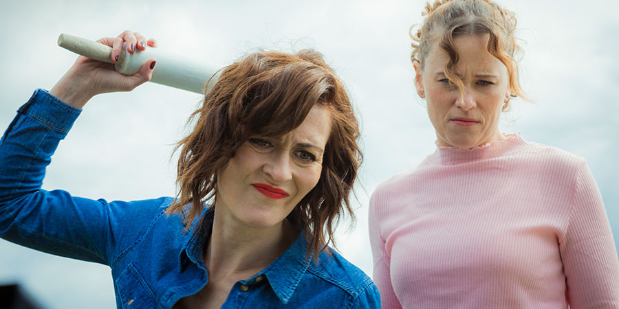 A Serial Killer's Guide To Life. Image shows from L to R: Louise Farnt (Katie Brayben), Val Stone (Poppy Roe).