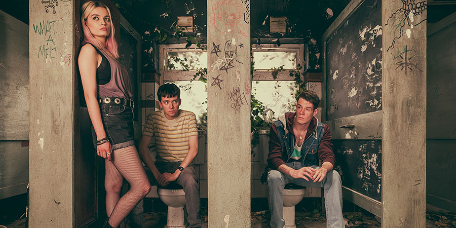 Sex Education. Image shows from L to R: Maeve Wiley (Emma Mackey), Otis Milburn (Asa Butterfield), Adam Groff (Connor Swindells). Copyright: Eleven Film.