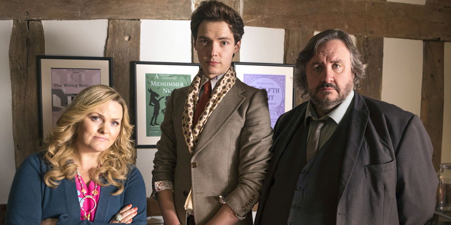 Shakespeare & Hathaway - Private Investigators. Image shows from L to R: Luella Shakespeare (Jo Joyner), Sebastian Brudenell (Patrick Walshe McBride), Frank Hathaway (Mark Benton).