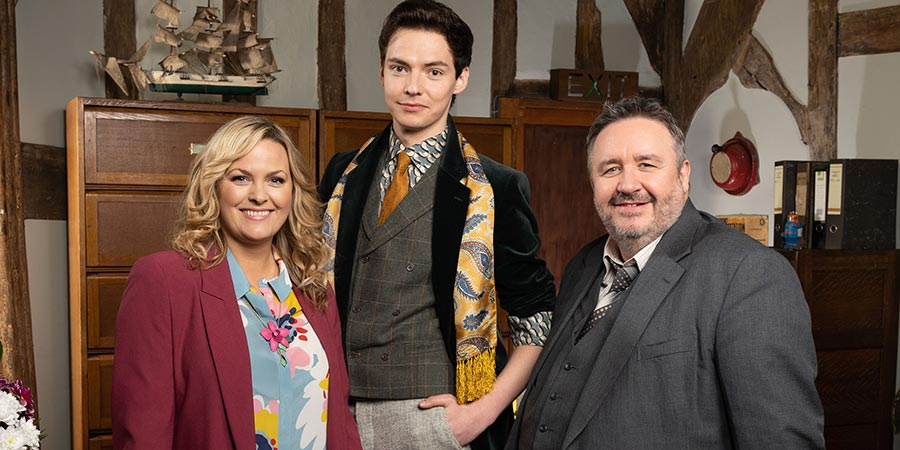 Shakespeare & Hathaway - Private Investigators. Image shows from L to R: Luella Shakespeare (Jo Joyner), Sebastian Brudenell (Patrick Walshe McBride), Frank Hathaway (Mark Benton). Copyright: BBC.