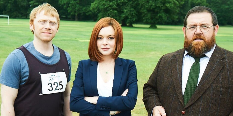 Sick Note. Image shows from L to R: Daniel Glass (Rupert Grint), Katerina West (Lindsay Lohan), Dr Iain Glennis (Nick Frost). Copyright: King Bert Productions.