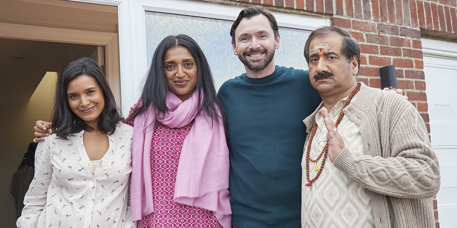 Sindhu Vee's Comedy Short. Image shows from L to R: Gita (Shelley Conn), Preeti (Sindhu Vee), James (Adam Leese), Ronnie (Jeff Mirza). Copyright: Roughcut Television.
