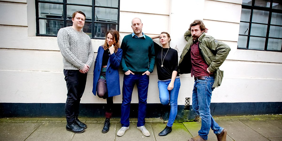 Small Scenes. Image shows from L to R: Daniel Rigby, Cariad Lloyd, Henry Paker, Jessica Ransom, Mike Wozniak. Copyright: BBC.