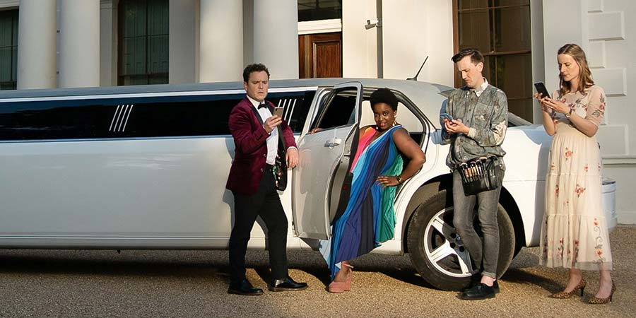 Sorry. Image shows from L to R: Dan (Joshua McGuire), Dolly (Lolly Adefope), Luke (Phil Dunning), Rosalind (Catherine Shepherd).