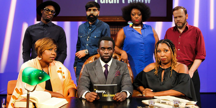 Sorry, I Didn't Know. Image shows from L to R: Chizzy Akudolu, Jimmy James Jones, Paul Chowdhry, Jimmy Akingbola, Judi Love, Jo Martin, Toby Williams. Copyright: Triforce Productions.