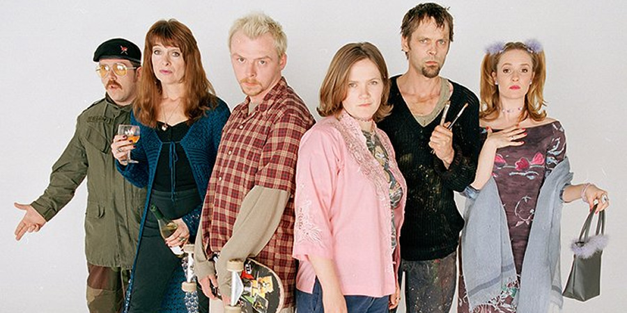 Spaced. Image shows from L to R: Mike Watt (Nick Frost), Marsha Klein (Julia Deakin), Tim Bisley (Simon Pegg), Daisy Steiner (Jessica Hynes), Brian Topp (Mark Heap), Twist Morgan (Katy Carmichael).