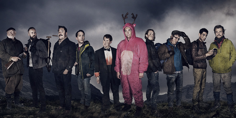 Stag. Image shows from L to R: The Gamekeeper (James Cosmo), Christoph (Christiaan Van Vuuren), Cosmo (Rufus Jones), Wendy (Reece Shearsmith), Ian (Jim Howick), Johnners (Stephen Campbell Moore), Ledge (JJ Feild), Aitken (Tim Key), The Mexican (Amit Shah), Neils (Pilou Asbæk). Copyright: BBC / Idiotlamp.