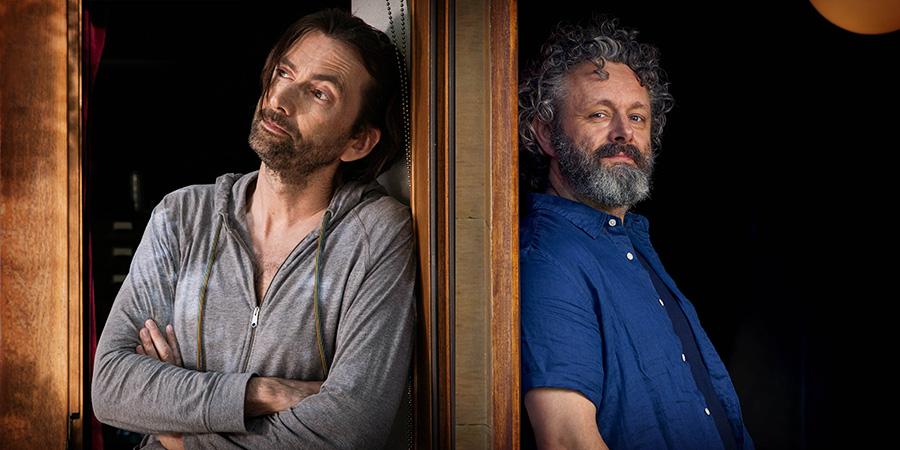 Staged. Image shows from L to R: David (David Tennant), Michael (Michael Sheen). Copyright: BBC / Simon Ridgeway.