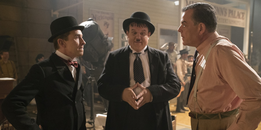 Stan & Ollie. Image shows from L to R: Stan Laurel (Steve Coogan), Oliver Hardy (John C. Reilly), Hal Roach (Danny Huston).
