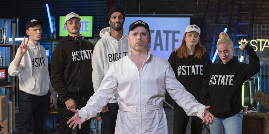 The State Of It. Image shows from L to R: Nathan Byrne, Joe Hullait, Bigg Taj, Robert Florence, Susan Riddell, Rachel Jackson. Copyright: The Comedy Unit.