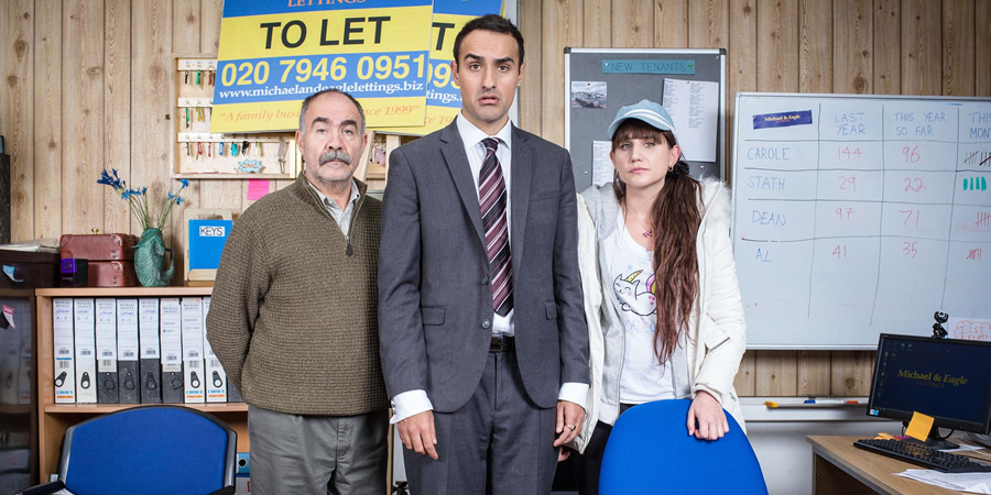Stath Lets Flats. Image shows from L to R: Vasos (Christos Stergioglou), Stath (Jamie Demetriou), Sophie (Natasia Demetriou). Copyright: Roughcut Television.