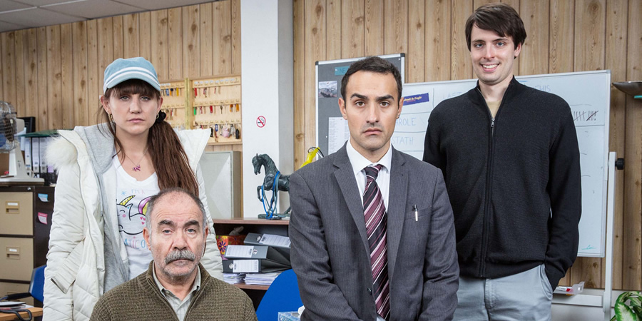 Stath Lets Flats. Image shows from L to R: Sophie (Natasia Demetriou), Vasos (Christos Stergioglou), Stath (Jamie Demetriou), Al (Alastair Roberts). Copyright: Roughcut Television.