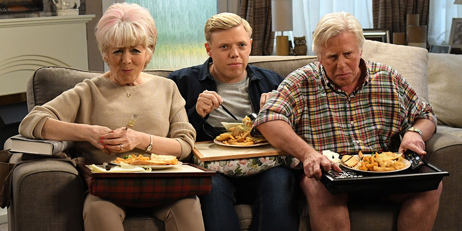 Static. Image shows from L to R: Cath (Alison Steadman), Rob (Rob Beckett), Gal (Phil Davis). Copyright: Zeppotron.