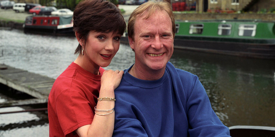 Stay Lucky. Image shows from L to R: Sally Hardcastle (Jan Francis), Thomas Gynn (Dennis Waterman). Copyright: Yorkshire Television.