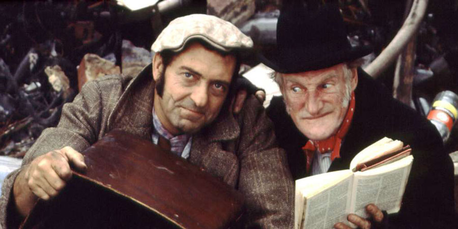Steptoe And Son. Image shows from L to R: Harold Steptoe (Harry H. Corbett), Albert Steptoe (Wilfrid Brambell). Copyright: BBC.