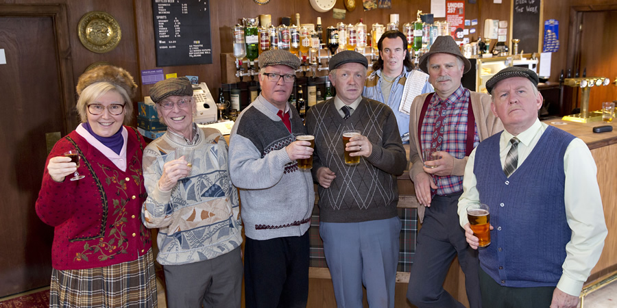 Still Game. Image shows from L to R: Isa Drennan (Jane McCarry), Eric (James Martin), Winston Ingram (Paul Riley), Tam Mullen (Mark Cox), Boabby (Gavin Mitchell), Victor McDade (Greg Hemphill), Jack Jarvis (Ford Kiernan).
