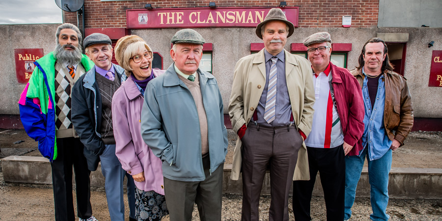 Still Game. Image shows from L to R: Navid Harrid (Sanjeev Kohli), Tam Mullen (Mark Cox), Isa Drennan (Jane McCarry), Jack Jarvis (Ford Kiernan), Victor McDade (Greg Hemphill), Winston Ingram (Paul Riley), Boabby (Gavin Mitchell).
