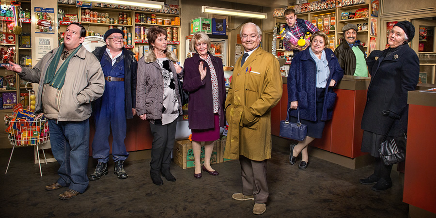 Still Open All Hours. Image shows from L to R: Wet Eric (Johnny Vegas), Gastric (Tim Healy), Madge (Brigit Forsyth), Mavis (Maggie Ollerenshaw), Granville (David Jason), Leroy (James Baxter), Nurse Gladys Emmanuel (Lynda Baron), Cyril (Kulvinder Ghir), Mrs Featherstone (Stephanie Cole). Copyright: BBC.