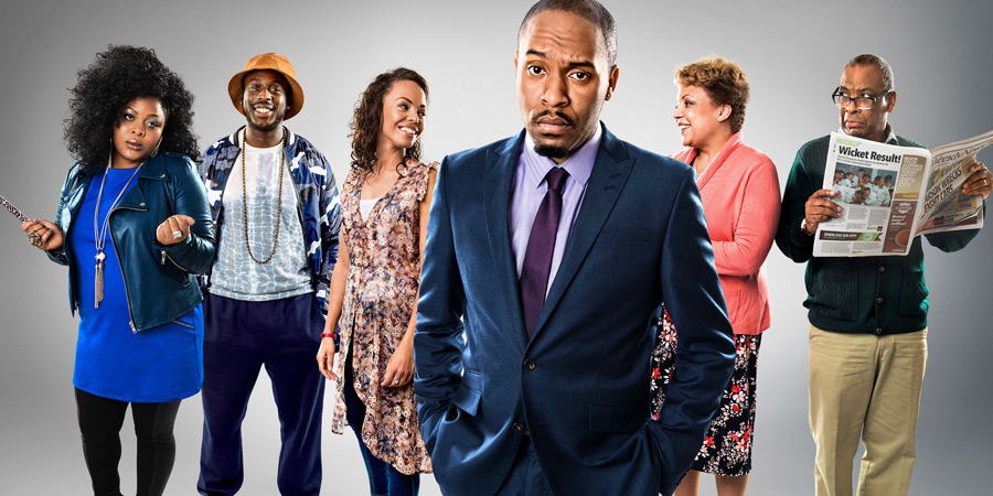 Sunny D. Image shows from L to R: Kadean (Gbemisola Ikumelo), Stefan (David Ajao), Nicola (Sasha Frost), Dane (Dane Baptiste), Gloria (Liz Hume-Dawson), Lawrence (Don Warrington). Copyright: BBC.