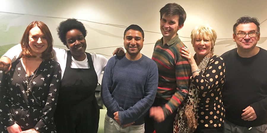 Sweats. Image shows from L to R: Lucy (Sarah Daykin), Kate (Lolly Adefope), Jake (Nick Mohammed), Frankie (Kieran Hodgson), Aunt Lois (Alison Steadman), Brian (Paul Putner). Copyright: BBC.