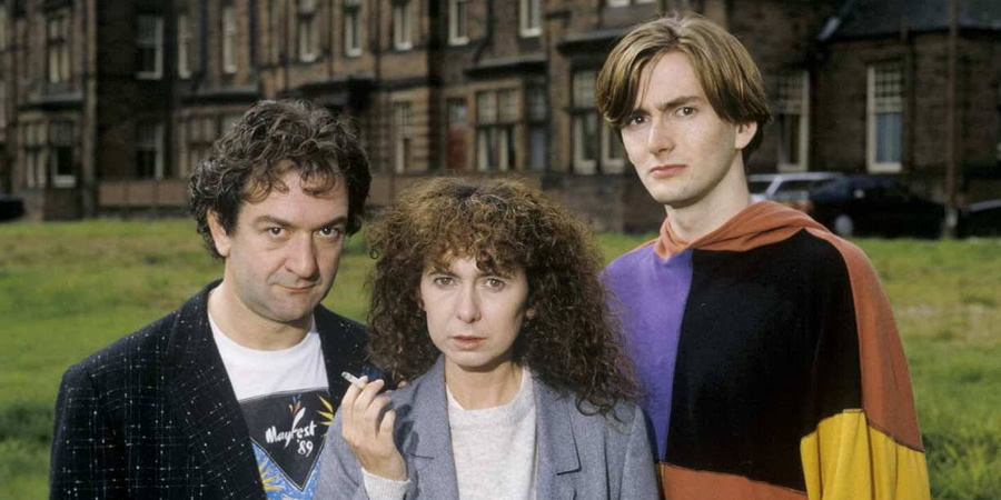 Takin' Over The Asylum. Image shows from L to R: Eddie (Ken Stott), Francine (Katy Murphy), Campbell (David Tennant). Copyright: BBC.