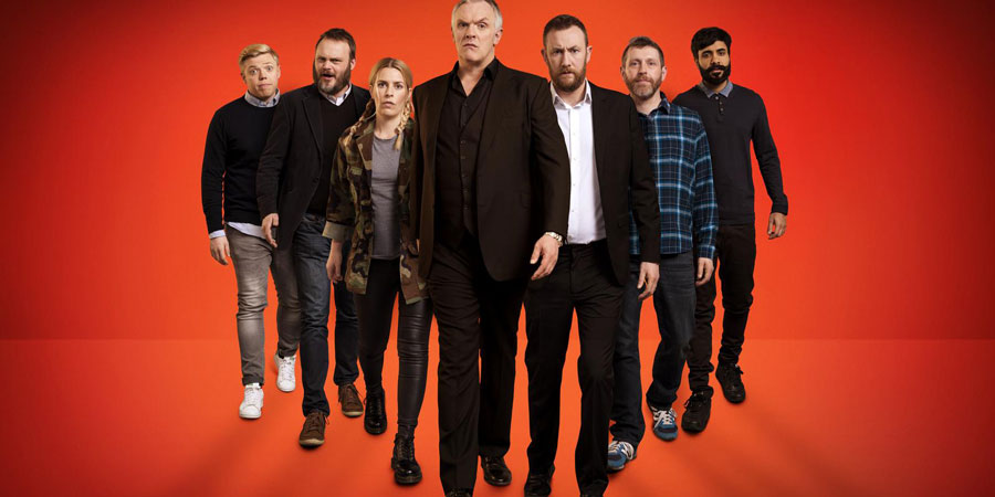 Taskmaster. Image shows from L to R: Rob Beckett, Al Murray, Sara Pascoe, Greg Davies, Alex Horne, Dave Gorman, Paul Chowdhry. Copyright: Avalon Television.