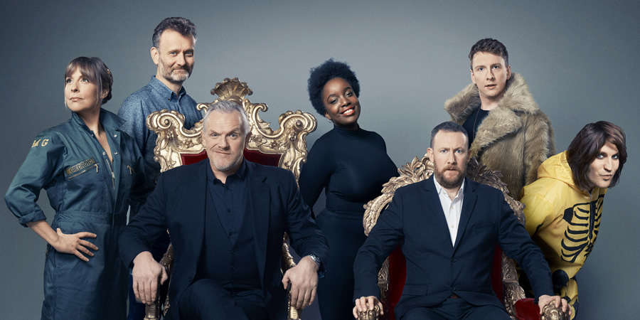Taskmaster. Image shows from L to R: Mel Giedroyc, Hugh Dennis, Greg Davies, Lolly Adefope, Alex Horne, Joe Lycett, Noel Fielding. Copyright: Avalon Television.