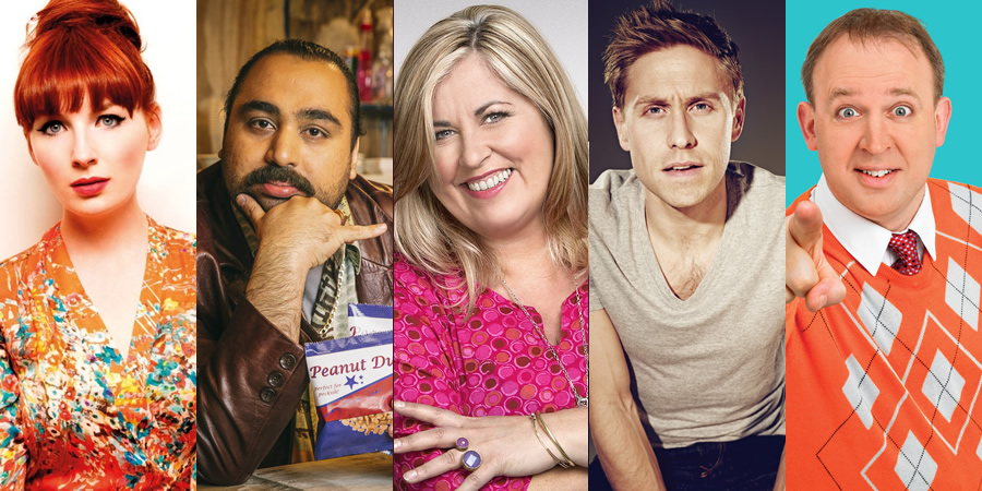 Image shows from L to R: Alice Levine, Asim Chaudhry, Liza Tarbuck, Russell Howard, Tim Vine.