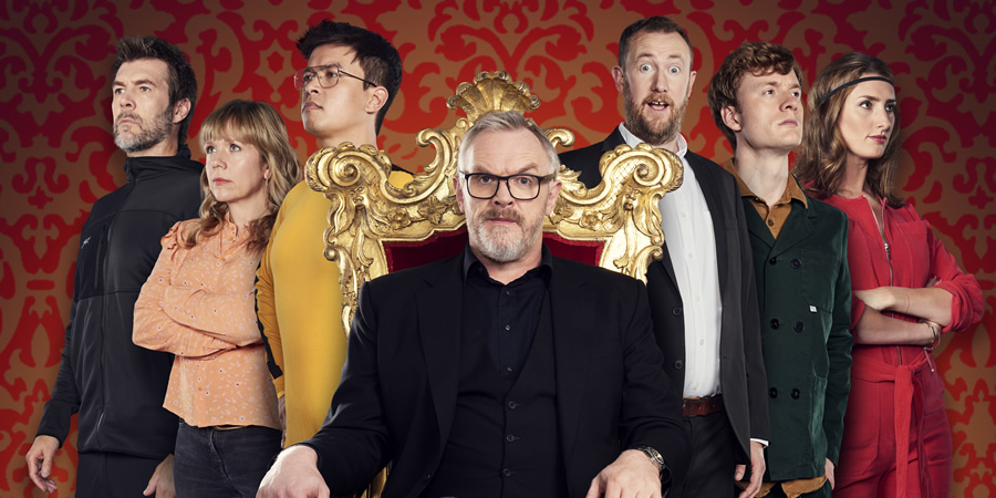 Taskmaster. Image shows from L to R: Rhod Gilbert, Kerry Godliman, Phil Wang, Greg Davies, Alex Horne, James Acaster, Jessica Knappett. Copyright: Avalon Television.