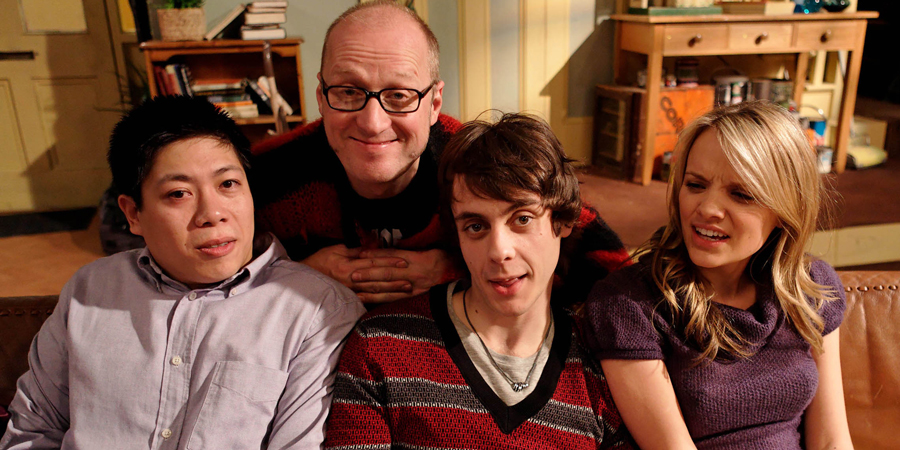 Teenage Kicks. Image shows from L to R: David (Jonathan Chan-Pensley), Vernon (Adrian Edmondson), Max (Ed Coleman), Milly (Laura Aikman). Copyright: Phil McIntyre Entertainment.