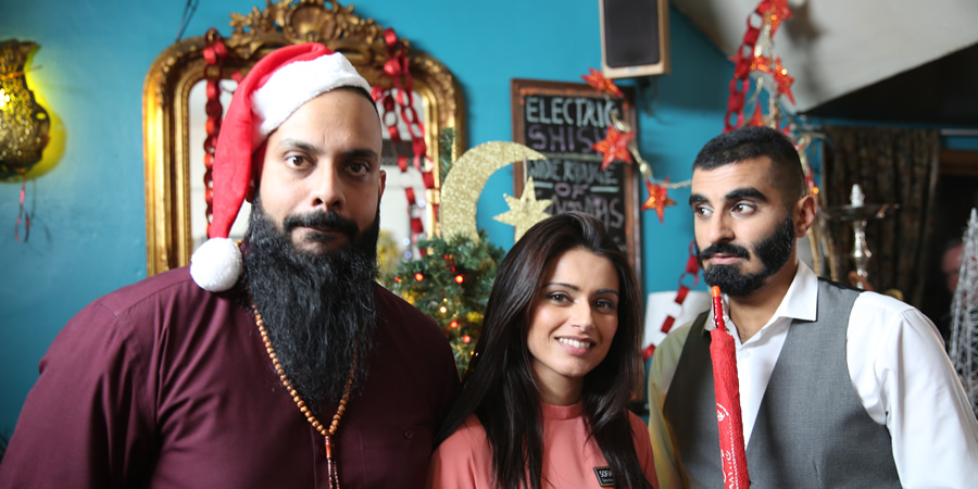 Tez Ilyas's Christmas. Image shows from L to R: Guz Khan, Bhavna Limbachia, Tez Ilyas. Copyright: Baby Cow Productions.