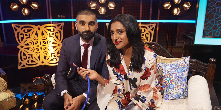 The Tez O'Clock Show. Image shows from L to R: Tez Ilyas, Sindhu Vee.