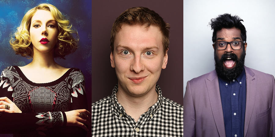 That Thing On Friday Night. Image shows from L to R: Katherine Ryan, Joe Lycett, Romesh Ranganathan.