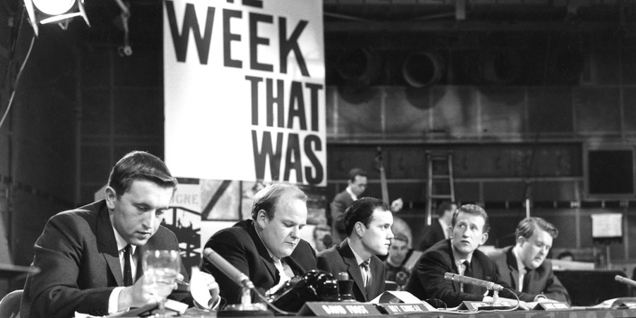 That Was The Week That Was. Image shows from L to R: David Frost, Roy Kinnear, Kenneth Cope, Lance Percival, William Rushton. Copyright: BBC.
