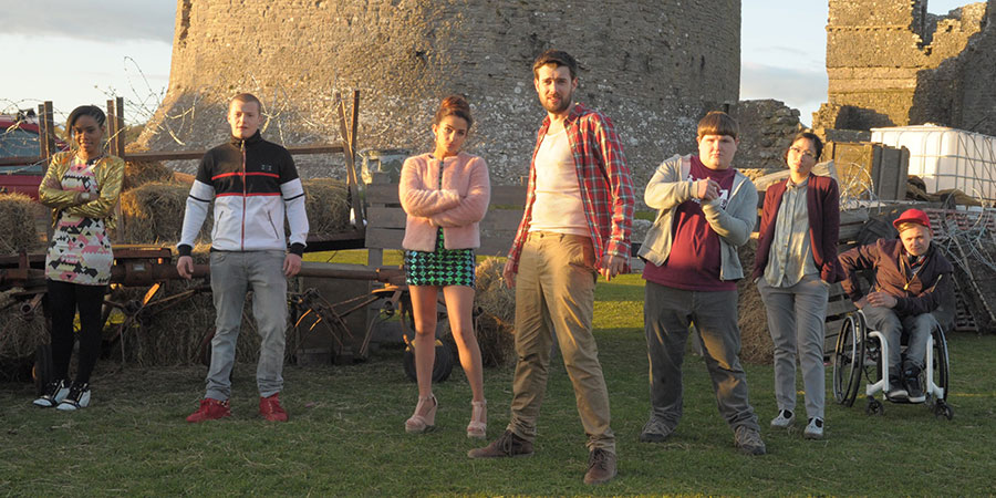 The Bad Education Movie. Image shows from L to R: Cleopatra (Weruche Opia), Mitchell (Charlie Wernham), Chantelle (Nikki Runeckles), Alfie (Jack Whitehall), Joe (Ethan Lawrence), Jing (Kae Alexander), Rem Dogg (Jack Binstead). Copyright: Entertainment In Video.