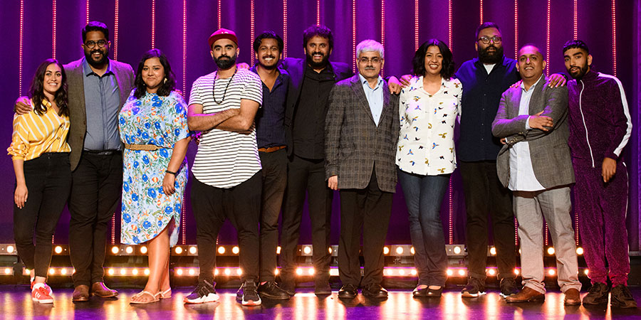 The Big Asian Stand-Up. Image shows from L to R: Emily Lloyd Saini, Eshaan Akbar, Sukh Ojla, Tez Ilyas, Ahir Shah, Nish Kumar, Mark Silcox, Isma Almas, Sunil Patel, Anuvab Pal, Mawaan Rizwan. Copyright: BBC.