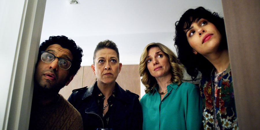 The Circuit. Image shows from L to R: Gabe (Adeel Akhtar), Marty (Nicola Walker), Nat (Eva Birthistle), Angie (Desiree Akhavan). Copyright: Merman.